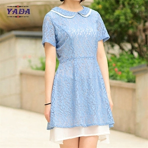 Hollow-out short sleeve lace can custom t-shirt mini dress fashion women clothes dresses sexy with high quality