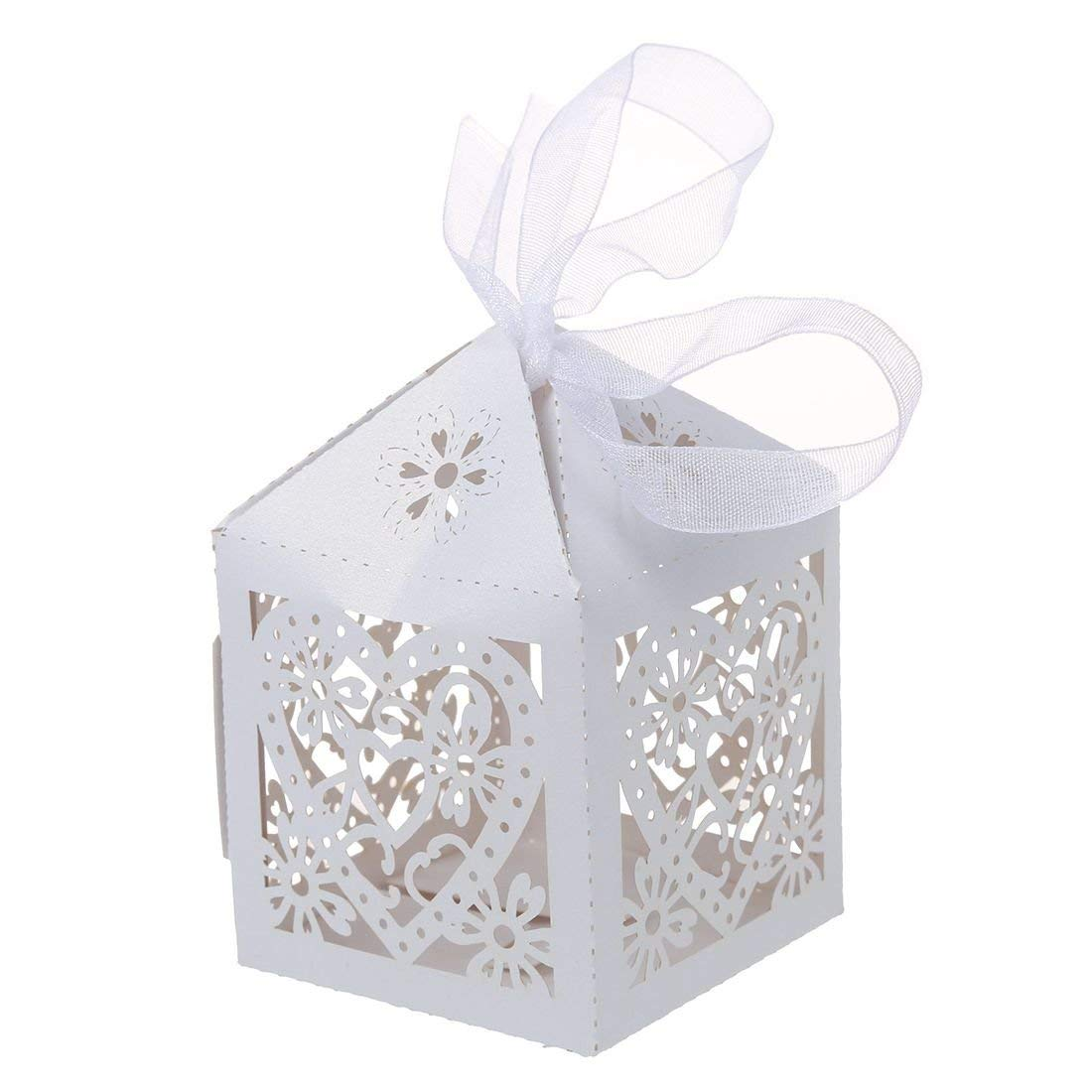 Candy Boxes - SODIAL(R)50pcs Love Heart Laser Cut Gift Candy Boxes Wedding Party Favor With Ribbon White