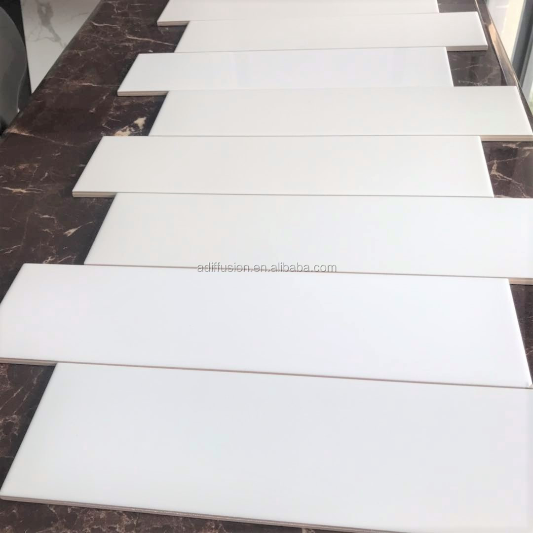 White Glossy Glazed Ceramic Wall Tile 100x400 4x16 Inch