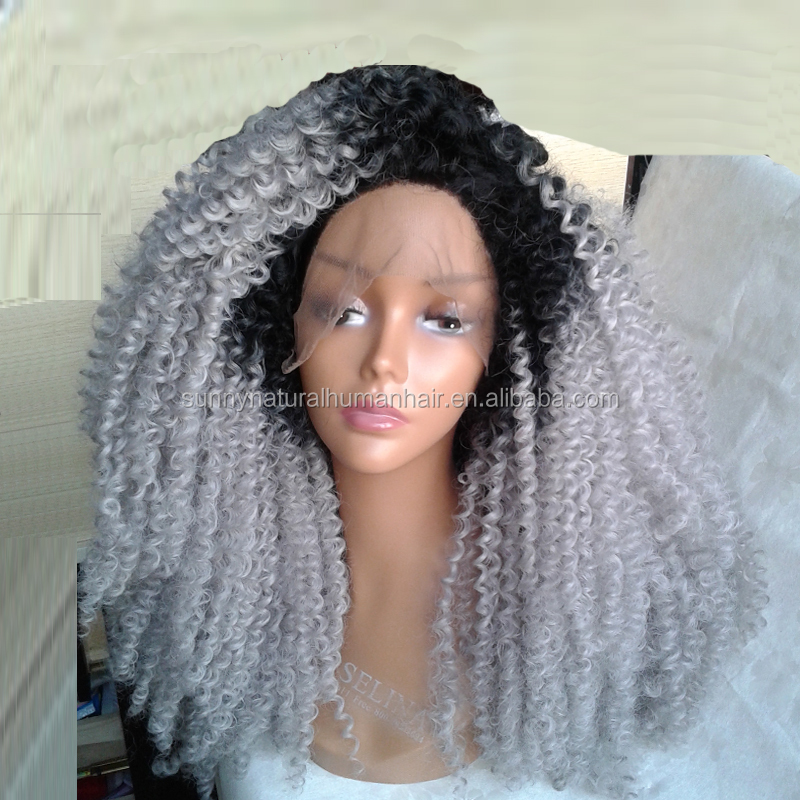synthetic lace front wig grey heat resistant afro kinky curly wig 1b grey ombre kinky curly gray curly hair wig for black women