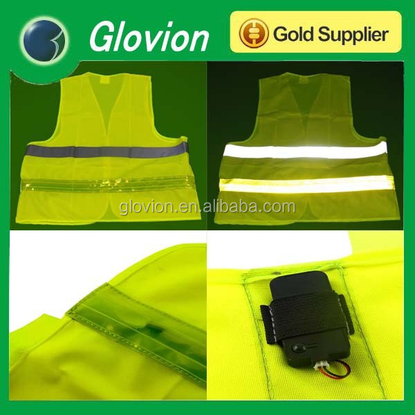 USB rechargeable flashing vest durable safety clothes yellow safety vest