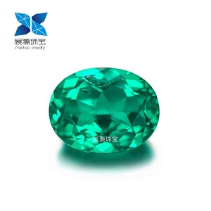 Zhanhao Jewelry new material oval cut vivid VS clarity green lab grown Russian material columbian emerald rough