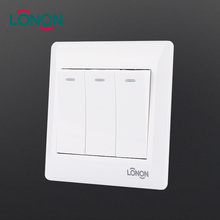Home use 86*86mm white PC Material electric light control 3 position switch
