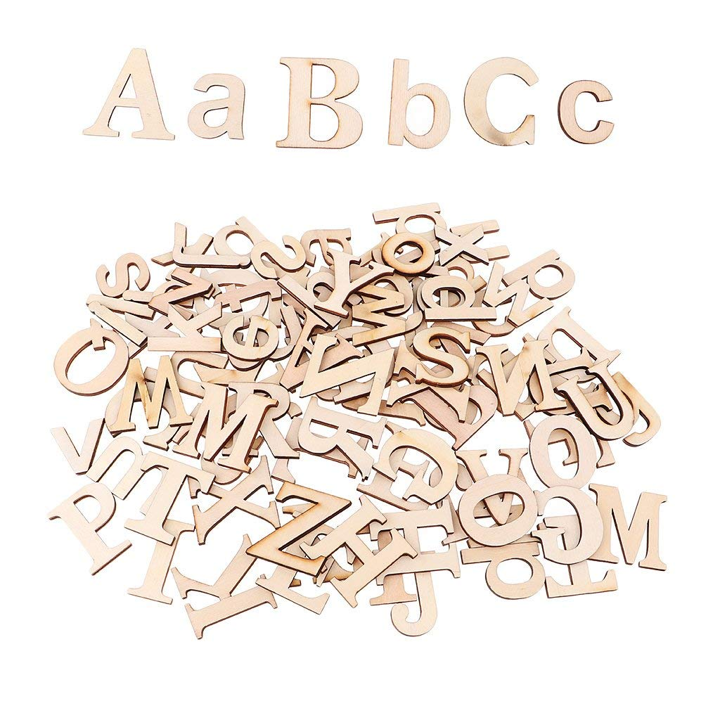 Baosity 52 Pieces Unfinished Wood Alphabet Letters Scrapbooking Embellishment for DIY Gift Tags Wedding Craft
