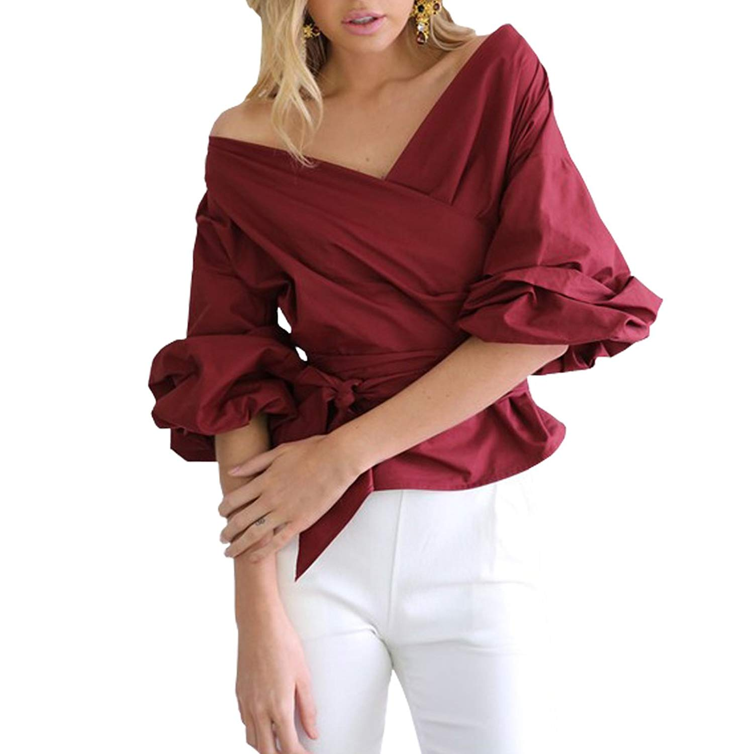 8b39f9525c665 Get Quotations · Weigou Woman T Shirts Bandage Sexy Wrap Chest Deep V-Neck  Tie Crop Top Half