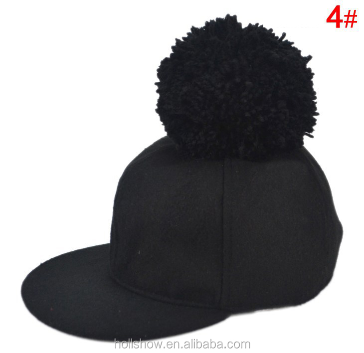 trendy baseball hats 2017 fashion boys girls flat brim wool pom hat kids cap caps uk 2015