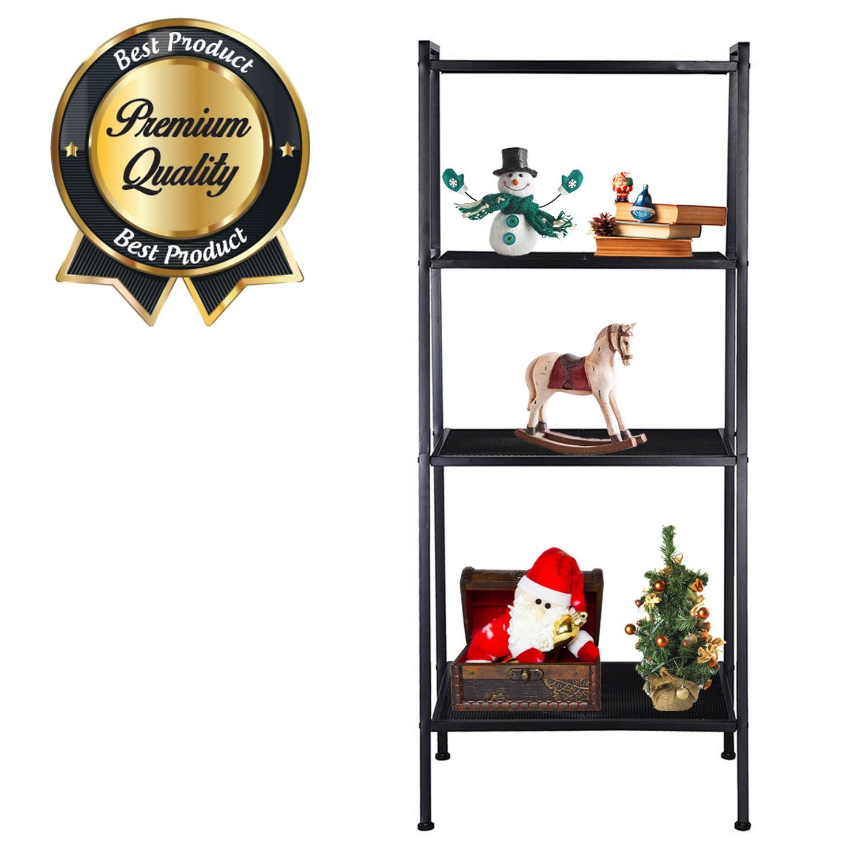"KOVAL INC. 4-Tier Metal Ladder Bookshelf Wire Shelving Kitchen Storage (Black, 23-3/5 L x 14"" W x 58"" H)"