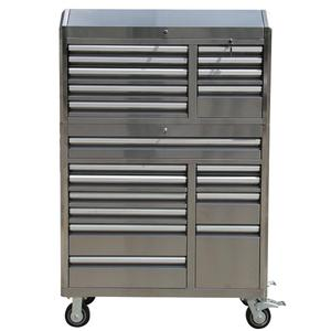 Stainless Steel Tooling Chest Heavy Duty Metal Tool Chest Roller Cabinet 20 Drawers