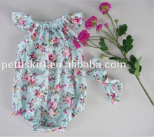 Fashionable girls floral romper cotton baby clothes print fabric clothing spanish bodysuit