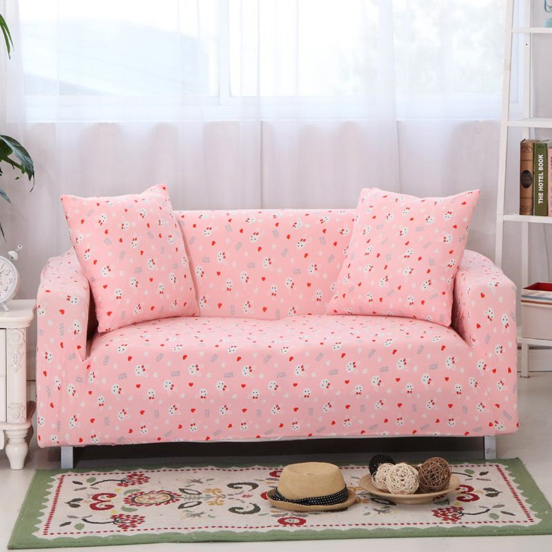 Unikea Cartoon Pink Sofa Cover Elastic L Shaped Slipcover For Sectional Three Seat Couch High Quality Slipcovered