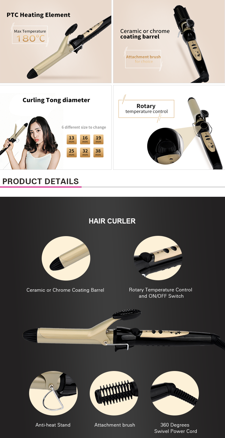 PRITECH New 6 Different Size For Choice Hair Curler With Adjustable Temperature Control