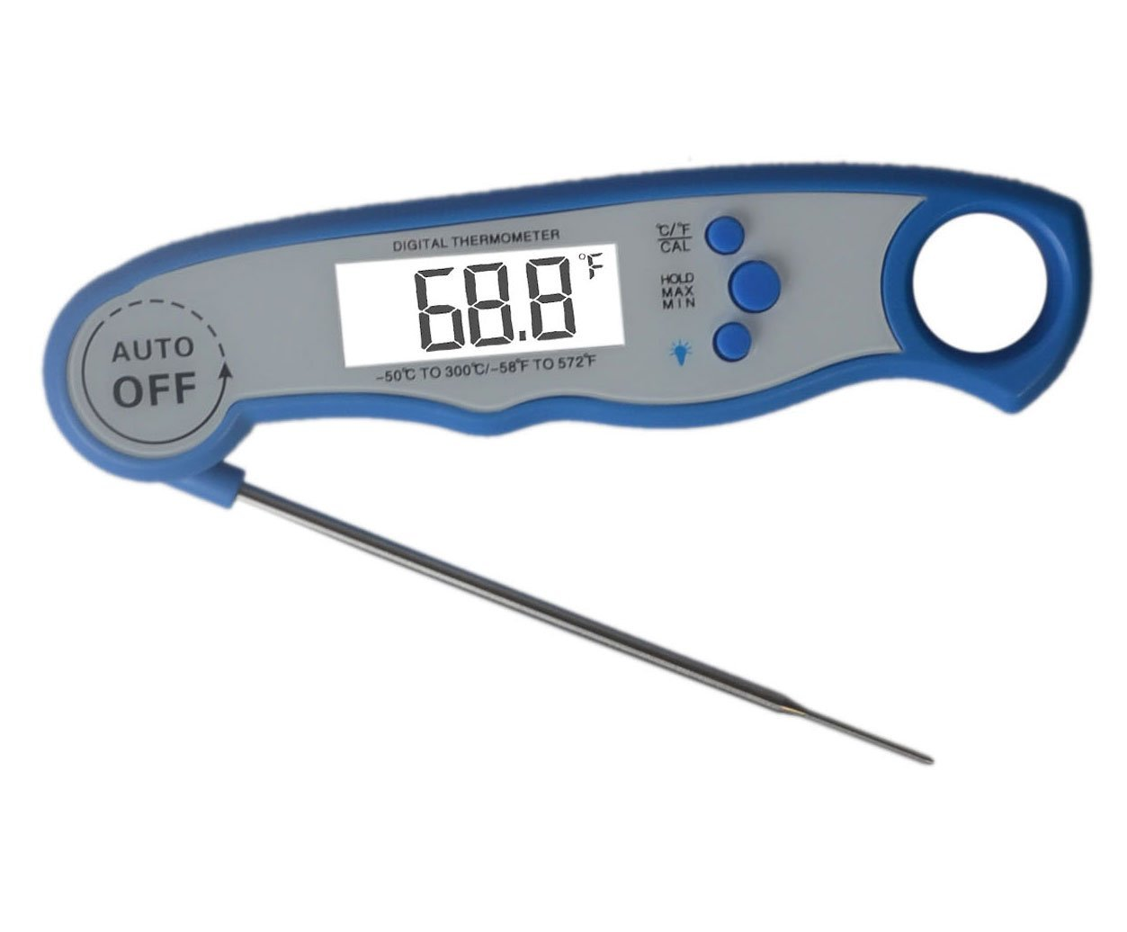 HuiSmart Digital Read Meat Thermometer Waterproof Instant Cooking Thermometer with Calibration and Backlight Functions - Food Thermometer for Kitchen and Outdoor Cooking BBQ,Grill (Blue)
