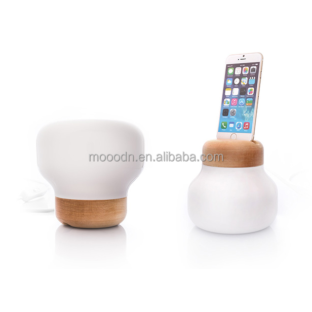 Opal white glass and Wood Art Decorative Night Light 5V mobile power Cell phone charger for bedroom set