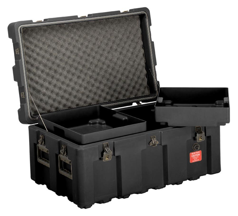Loadmaster Footlocker Storage Trunk With Wheels, Removable Trays, Lockable  Hinged Lid, From ECS