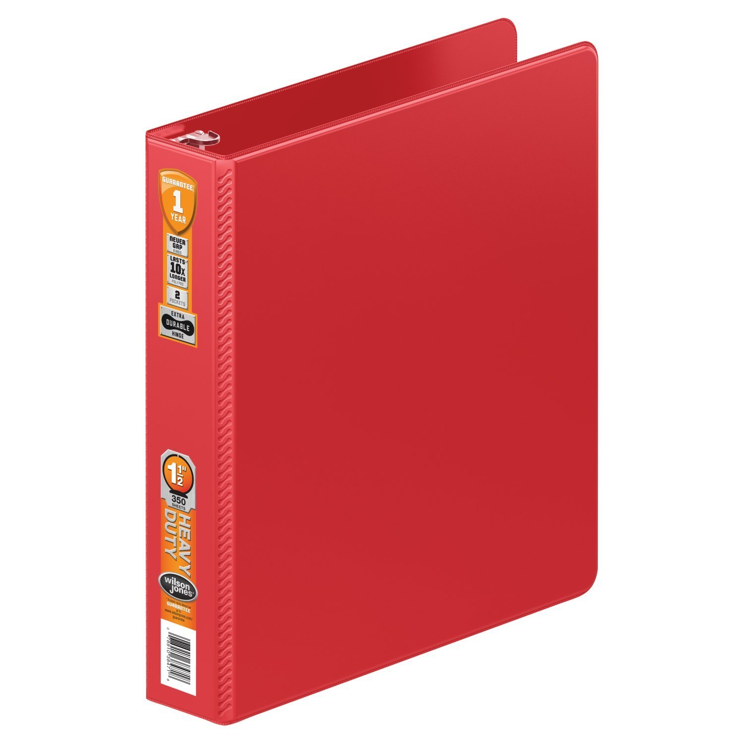 Wilson Jones Heavy Duty Round Ring Binder with Extra Durable Hinge, 1.5-Inch, Red (W364-34-1797)
