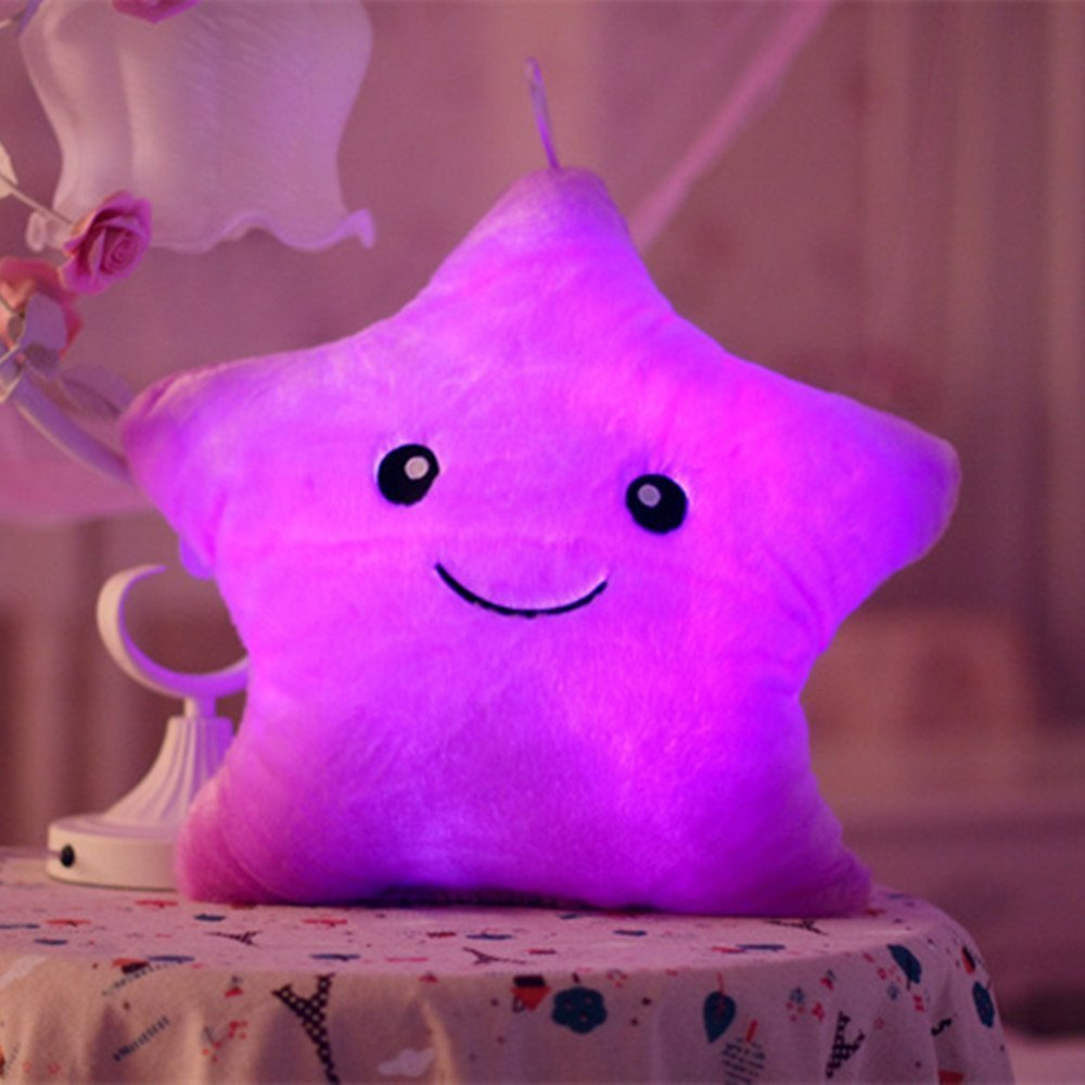 Tickos Plush Pillow Night Light LED Star Pillow Creative Glowing Stuffed Toy Toys Gift for Christmas (Purple)