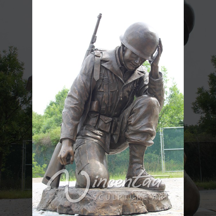 Outdoor Garden Decoration Metal Bronze Life Size Soldier
