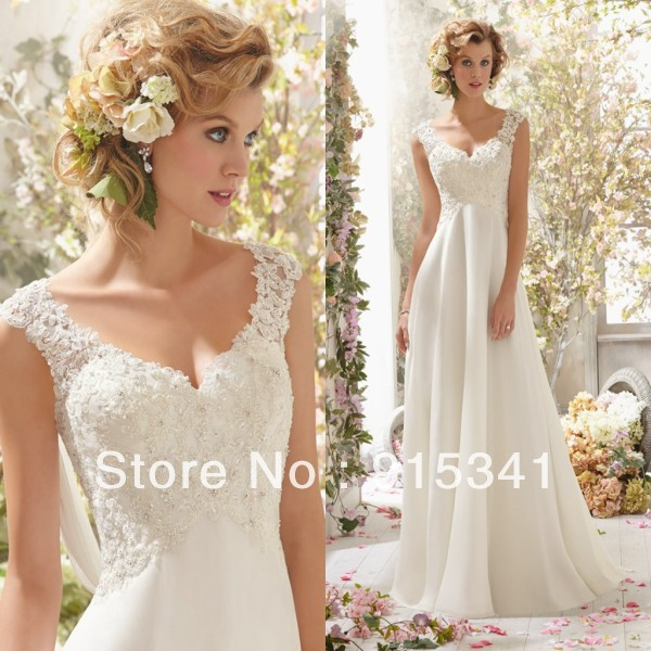 Affordable Maternity Wedding Gowns: Elegant Stylish A Line V Neck Lace Beadings Chiffon Cheap