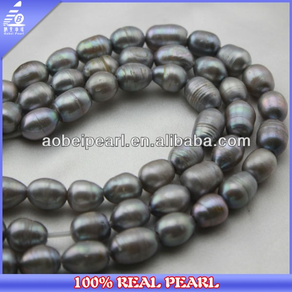 2014 new fashion 11-12mm large hole rice shape black freshwater wholesale loose pearls