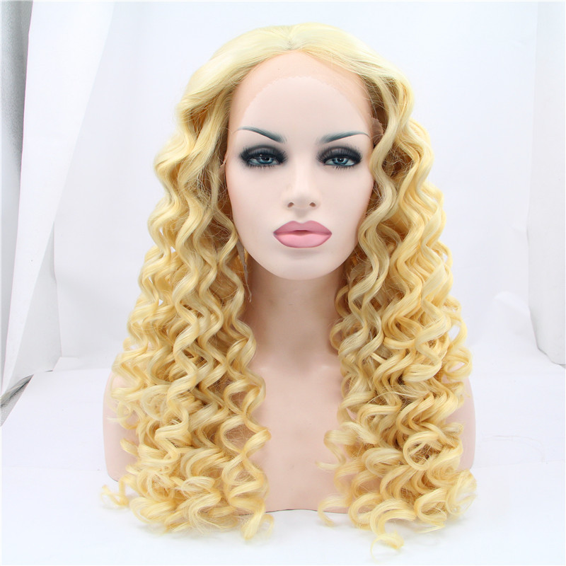 Stars loves hair synthetic occidental kinky curly lace front wig blonde elasticity hair be dyed