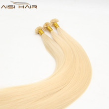 Aisi Hair 100% Virgin Brazilian Human U Tip Hair Extension , Blonde 613 Color Pre-Bonded U Tip Hair
