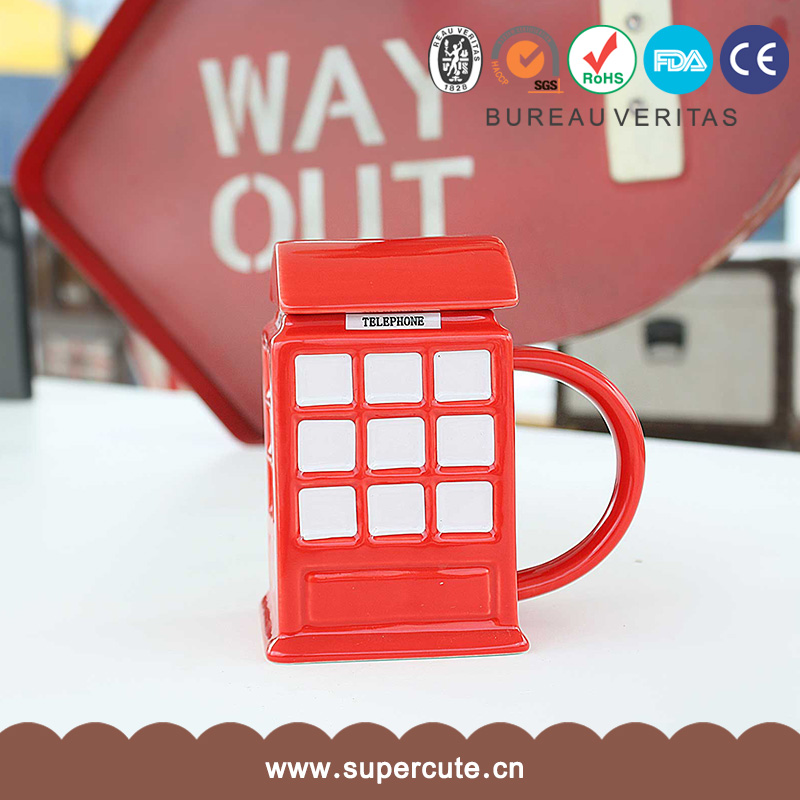 Novelty red 12 OZ fine china cartoon telephone copper mug for promotion