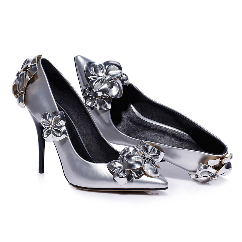 2015 latest design beautiful sexy and sweet sliver patent leather stiletto ladies high heel dress shoes
