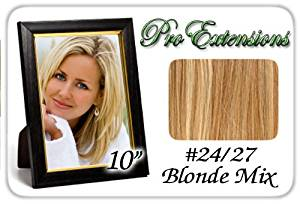 "10"" Inch #24/27 Light Blonde w/ Dark Golden Blonde Highlights Pro Extensions Human Hair Extensions"