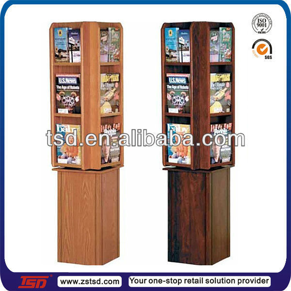 TSD-W735 wholesale retail shop 4-side floor book display shelf/wooden book