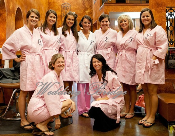 Perfect Wedding Day Waffle Bathrobe Dressing With Gown