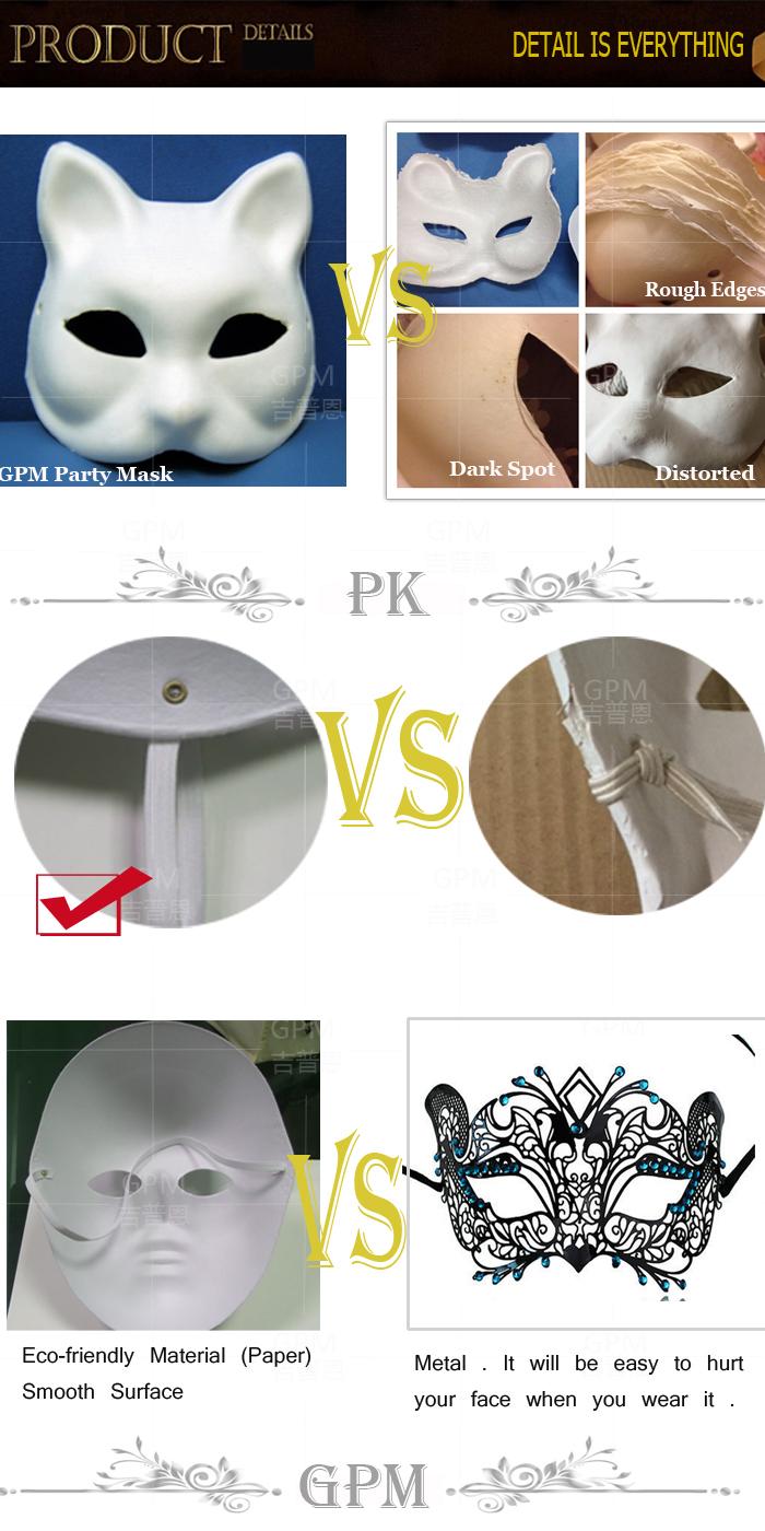 Diy White Half Face Mask Halloween Blank Paper Zorro Mask - Buy ...