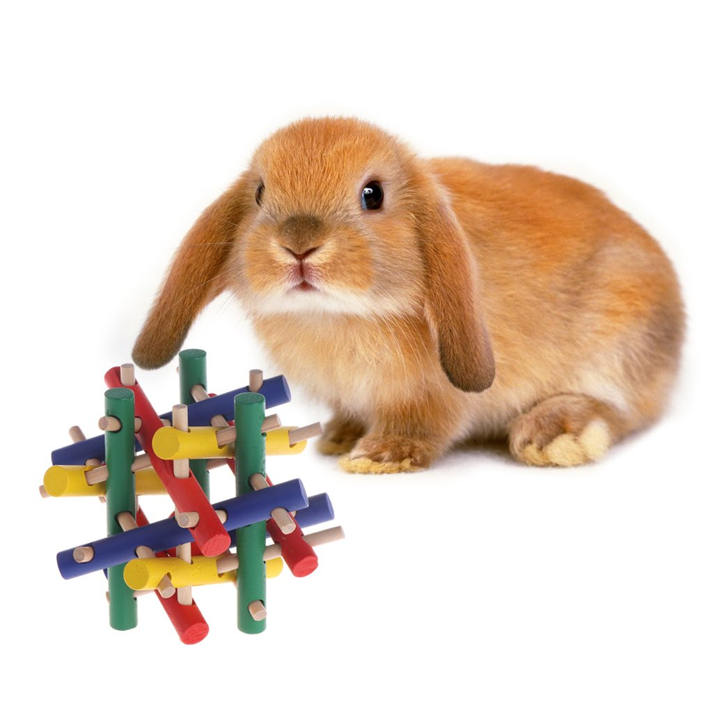 NNDA CO Rabbit toys,1PC Pet Toy Colorful Wood Safety Knot, Nibbler Chew Bite For Rabbit Animal Kid Adults