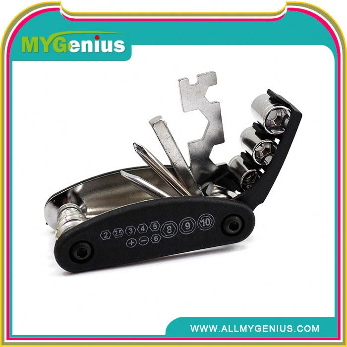 convenient 9 multi functions bicycle folding tool ,H0T044 bicycle chain tool , with rubber cement