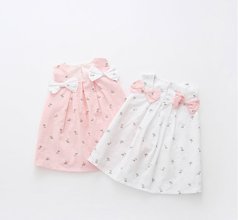Hao Baby,Baby Dress Children 2019 Korean Children Clothing Summer Solid Color Shoulder Bow Flower Print Girl Baby Dress