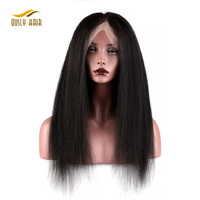 new products vigin remy hair kinky straight brazilian lace front wig