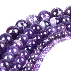 High quality Purple Color Amethyst Beads DIY Loose Natural Stone Beads for Jewelry Making 4-12mm size
