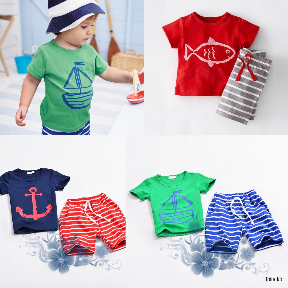 2016 summer baby boys Sailing Fish Arrch T shirts Striped Pants Suits clothing Sets kids Unisex