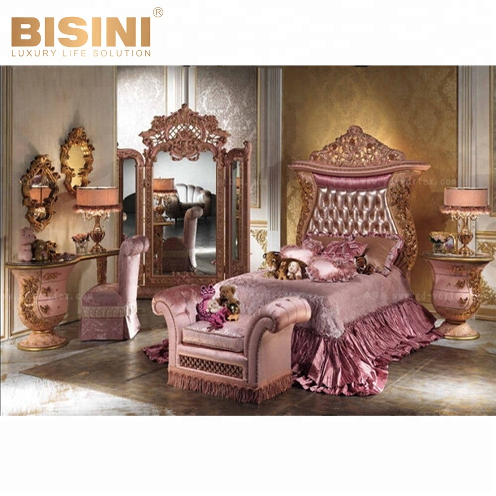 Bisini Luxury Children Royal Princess Pink Kids Bed Small