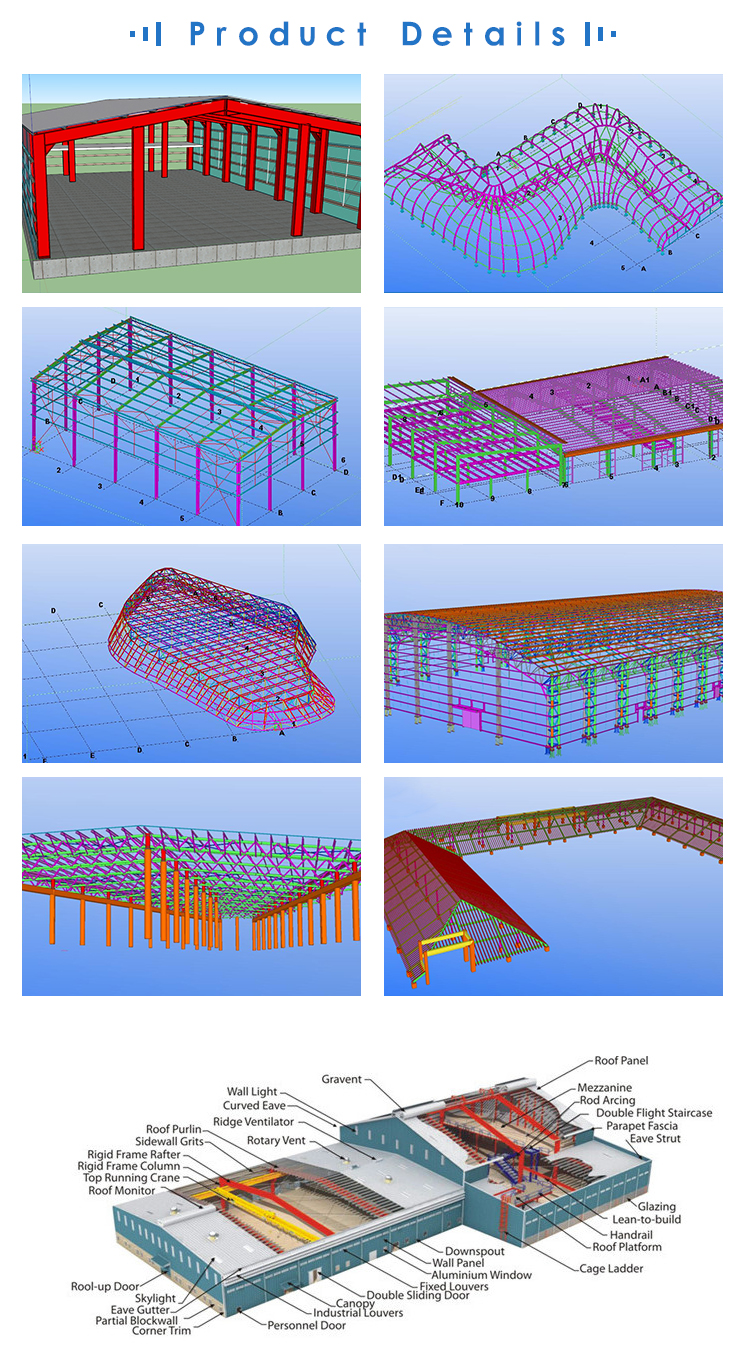 large span steel space frame structure warehouse