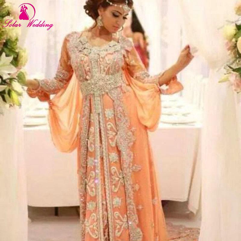 Luxury Caftan Marocain Islamic Abaya in Dubai Evening Dress Long Sleeve Prom Gowns Moroccan Kaftan - Bonny Wedding Dress