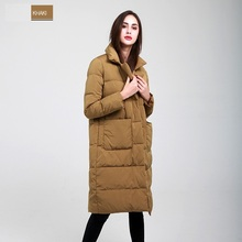 Womens Down Jackets Straight Winter Coat Pure Color Lapel Covered Button White Duck Down Coats Long Parka Ladies Outerwear