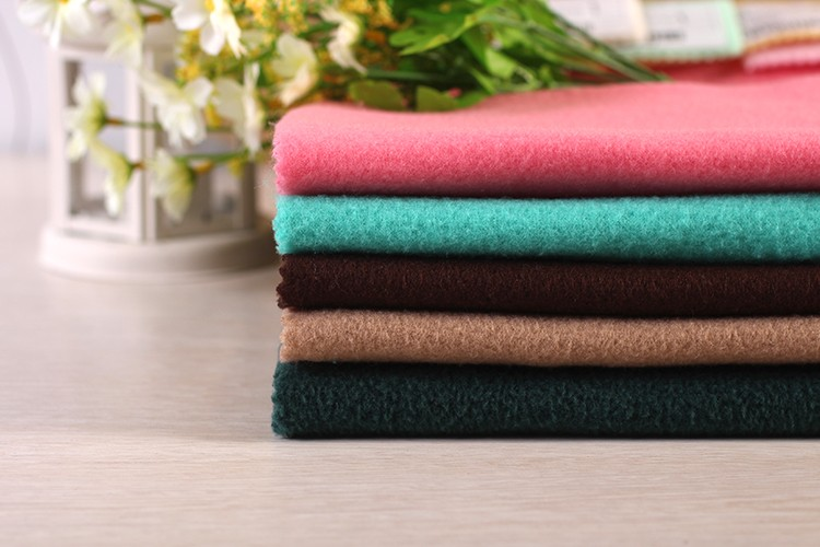 china wholesale high quality cheap plain poly two side brushed custom fleece fabric