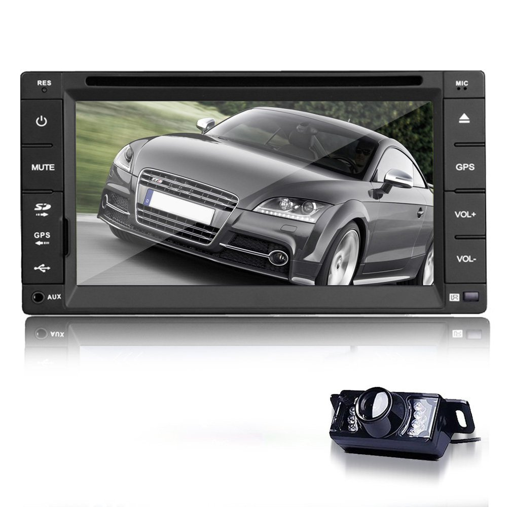 free backup camera 6 2 39 39 in dash gps navigation 2 din car stereo dvd player radio ipod with 4. Black Bedroom Furniture Sets. Home Design Ideas