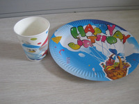 happy birthday of paper plate/paper cup
