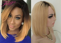 Beauty 10 inch front lace wig bob style 1b blonde ombre brazilian hair wig lace front human hair wig