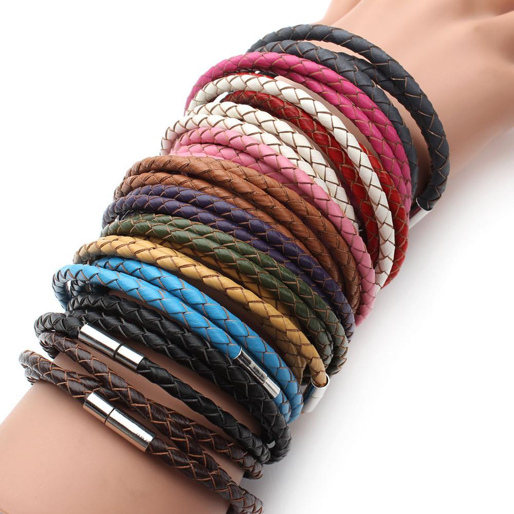 100% Genuine Braided Leather Bracelet Men Women 3 Wrap Charms Bracelets Magnetic Leather Bracelets Clasps Men's Jewelry Fem