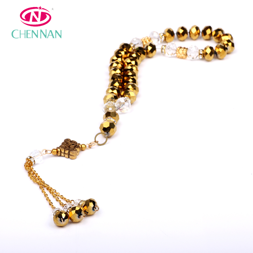 Latest Design wholesale golden diamante beads cheap crystal beads Tasbeeh beads