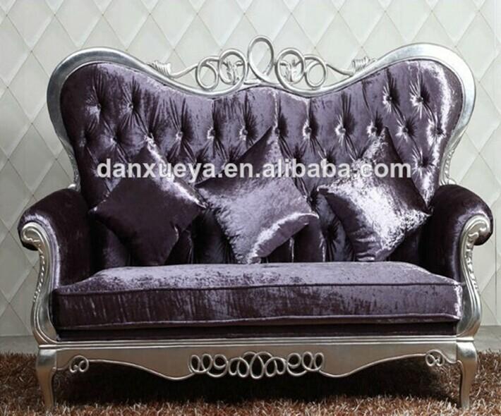 Superb Executive Living Room Sofa , Antique Wood Trim Couch , Wood Carved Purple  Sofa Set Part 16