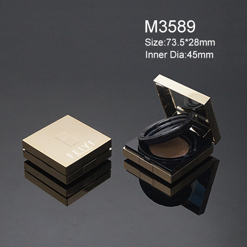 luxury gold square customed empty air cushion compact powder container