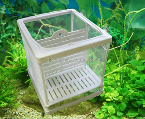 Hot selling Aquarium fish tank Guppy hatchery breeding soft net box with net trap free suction cups